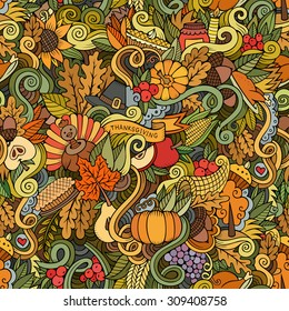 Cartoon vector hand-drawn Doodles on the subject of Thanksgiving autumn symbols, food and drinks seamless pattern. Color background