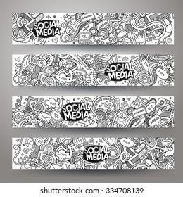 Cartoon vector hand-drawn sketchy social media, internet doodles. Horizontal banners design templates set