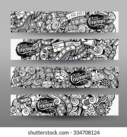 Cartoon vector hand-drawn sketchy trace Doodle on the subject of cinema. Horizontal banners design templates set