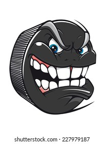 Cartoon vector hockey puck with an evil toothy grin glaring at the viewer