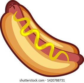 Cartoon vector hotdog with mustard icon