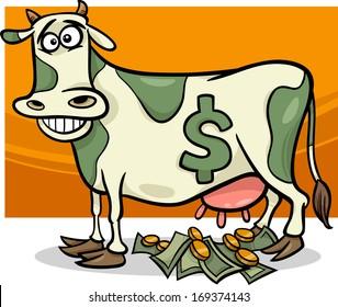 Cartoon Vector Humor Concept Illustration of Cash Cow Saying