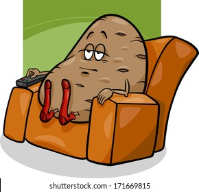 Cartoon Vector Humor Concept Illustration of Couch Potato Saying or Proverb