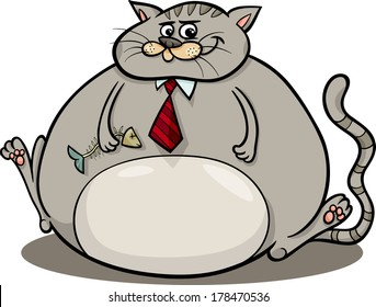 Cartoon Vector Humor Concept Illustration of Fat Cat Saying or Proverb