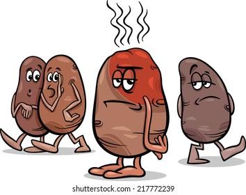 Cartoon Vector Humor Concept Illustration of Hot Potato Saying or Proverb