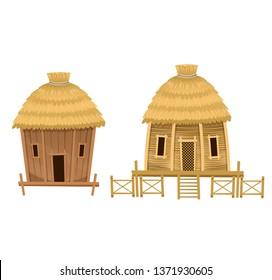 Cartoon vector huts.