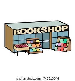 Cartoon vector icon of a bookshop building. Text on separate layer