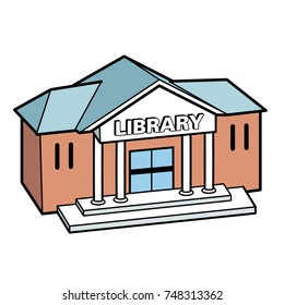 Cartoon vector icon of a library building, Text on separate layer