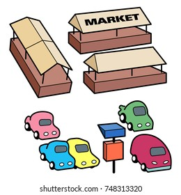 Cartoon vector icon of an open or covered market with a car park building. Text on separate layer