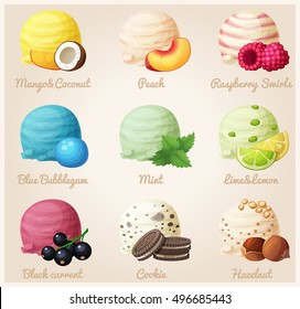 Cartoon vector icons. Ice cream scoops with different fruit and berry flavors. Coconut ice cream, Peach, Raspberry, Blue Bubblegum, Mint, Lime and Lemon, Black currant, Cookies, Hazelnut. Part 5
