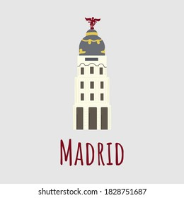 Cartoon vector illstration of Building Edificio Metropolis isolated on grey background. Lettering Madrid