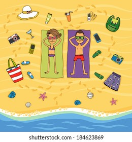Cartoon vector illustration from above of a couple lying on their towels on the golden sand sunbathing on a tropical beach at the waters edge surrounded by various holiday icons