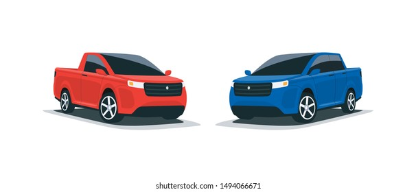 Cartoon vector illustration of an abstract modern all-terrain red and blue suv truck american style big 4x4 car. Front side perspective view. Isolated vehicle on white background.