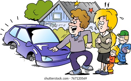 Cartoon Vector illustration of a angry family man pointing at his new auto car