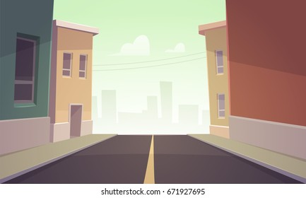 Cartoon vector illustration of the asphalt road over the street.