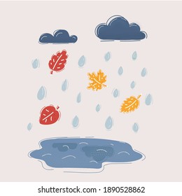 Cartoon vector illustration of autumn and fall rain. Puddle, leaves, water drop and clouds on white background.
