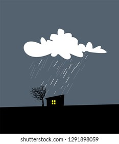 Cartoon vector illustration of autumn rainy, windy and cloudy night. Landscape with silhouette of house and tree