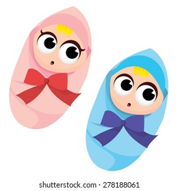 A cartoon vector illustration of a baby boy and baby girl.