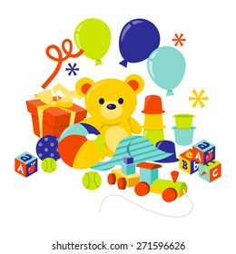 A cartoon vector illustration of baby gears and toys gift hamper.