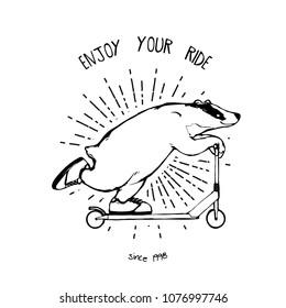 Cartoon vector illustration - Badger on a kick scooter