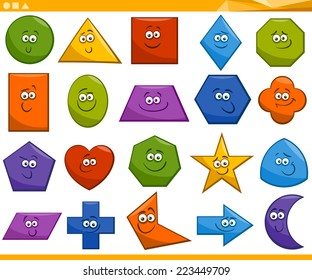 Cartoon Vector Illustration of Basic Geometric Shapes Funny Characters for Children Education