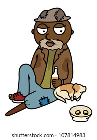 Cartoon vector illustration of black drunk homeless man sitting on street with his dog, begging