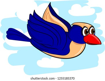 Cartoon vector illustration of blue bird flying in the cloudy sky.