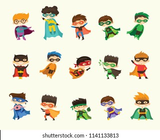Cartoon vector illustration of Boy Superheroes wearing comics costume isolated on white background.
