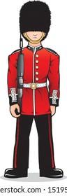 Cartoon vector illustration of a British Royal Guard