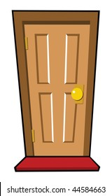 cartoon vector illustration brown door