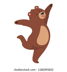 Cartoon vector illustration of brown grizzly bear, isolated on white background. Teddy jumps from happiness.