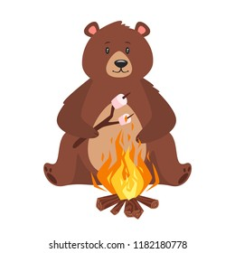 Cartoon vector illustration of brown grizzly bear, isolated on white background. Teddy fries marshmallow on a bonfire.