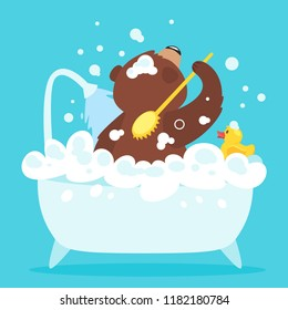 Cartoon vector illustration of brown grizzly bear, isolated on blue background. Teddy taking a bath full of soap foam. Yellow rubber duck in bathtub. Hygiene concept.