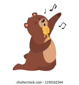 Cartoon vector illustration of brown grizzly bear, isolated on white background. Teddy holding wooden dipper with sticky honey like a microphone and sing.