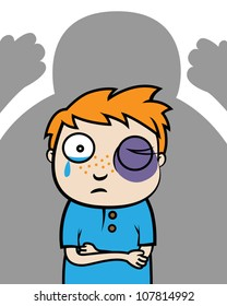 Cartoon vector illustration of bullied boy with black eye or victim of domestic violence