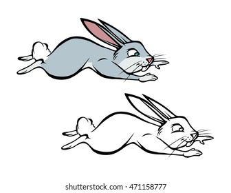 Cartoon Vector Illustration Of A Bunny Hopping Coloring Book
