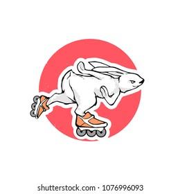 Cartoon vector illustration - Bunny roller skates