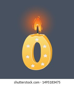 Cartoon vector illustration of burning Birthday candles isolated on dark background. Zero, null number.