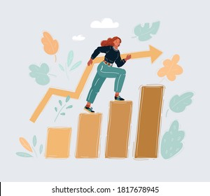 Cartoon vector illustration of business and education concept - smiling businesswoman stepping on pile of books