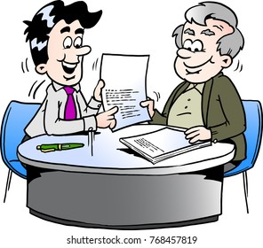 Cartoon Vector illustration of an business man and a older man having a business meeting