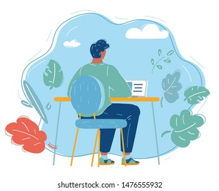 Cartoon vector illustration of Business person working on computer. Businessman sitting on a chair behind the office. Character isolated on blue background.