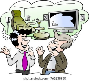 Cartoon Vector illustration of by a family man and a salesman thinking of the possibilities of the interior