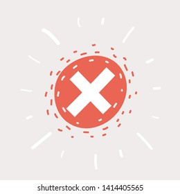 Cartoon vector illustration of cancel icon on white background, red cancel icon.