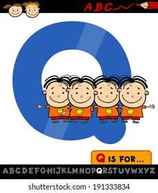Cartoon Vector Illustration of Capital Letter Q from Alphabet with Quadruplets for Children Education