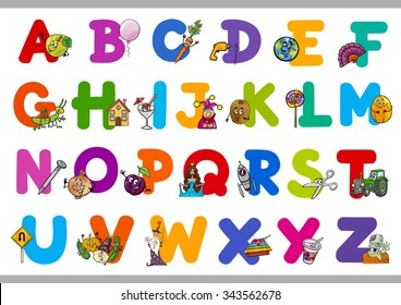Cartoon Vector Illustration of Capital Letters Alphabet with Objects for Reading and Writing Education for Preschool Children