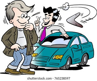 Cartoon Vector illustration of a car seller and a customer looking at a new auto car