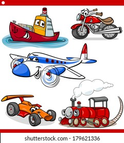 Cartoon Vector Illustration of Cars and Trucks Vehicles and Machines Comic Characters Set for Children