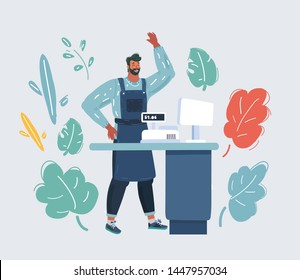 Cartoon vector illustration of Cashier behind the cashier counter in the supermarket, shop, store. Small business concept on white.