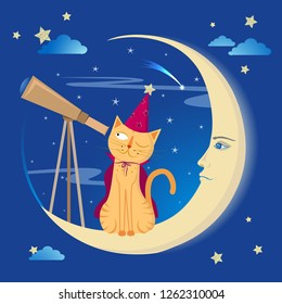 Cartoon vector illustration of the cat in the astronomer costume, sitting on the crescent moon, observing stars through a telescope