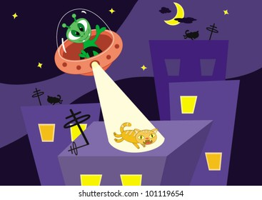 Cartoon vector illustration. Cat escapes on a roof from alien